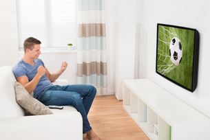 Man Watching Sport On Televisionの写真素材 [FYI00783136]
