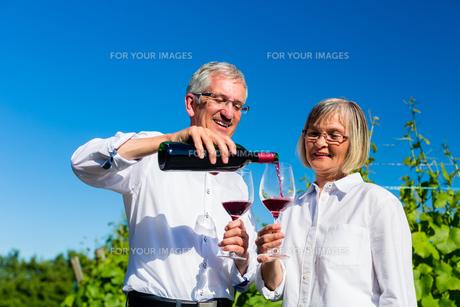 elderly couple enjoying red wine outdoorsの写真素材 [FYI00783365]