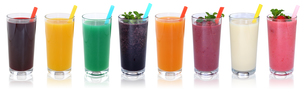 smoothie juice smoothies juices with fruit juice in a row cutの写真素材 [FYI00783367]