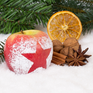 apple fruit at christmas in winter with snow and starの写真素材 [FYI00783368]