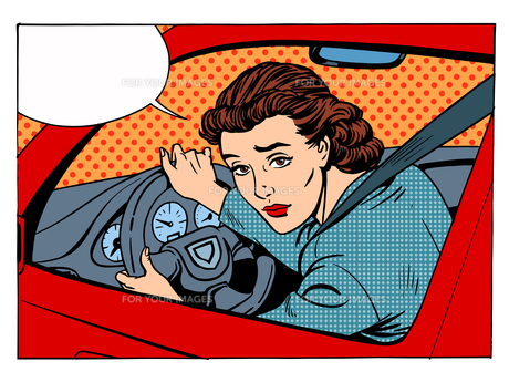 female driver offending transport traffic rulesの写真素材 [FYI00783561]