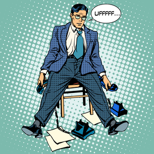 Tired businessman working stressの写真素材 [FYI00783573]