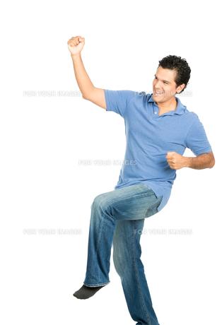 Fist Pumping Hispanic Male No Shoes Celebrationの写真素材 [FYI00783605]