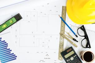 engineering desk on top viewの写真素材 [FYI00783669]
