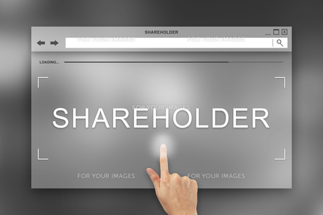 hand press on shareholder button on websiteの写真素材 [FYI00783695]