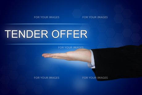 tender offer button on blue backgroundの素材 [FYI00783699]