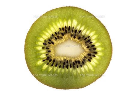 single slice of fresh green fruit of kiwi isolated on white backgroundの写真素材 [FYI00783754]