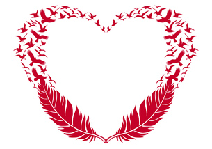 red heart with feathers and flying birds, vectorの写真素材 [FYI00783871]
