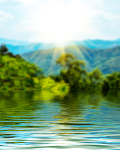 Surface Rippled of water and blur nature backgroundの写真素材 [FYI00784067]