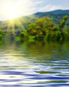 Surface Rippled of water and blur nature backgroundの写真素材 [FYI00784112]