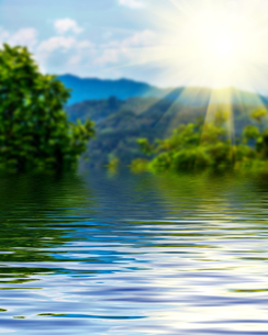 Surface Rippled of water and blur nature backgroundの写真素材 [FYI00784148]