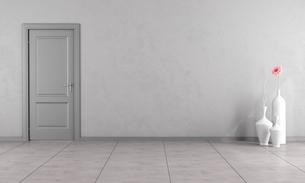 Gray room with doorの写真素材 [FYI00784177]