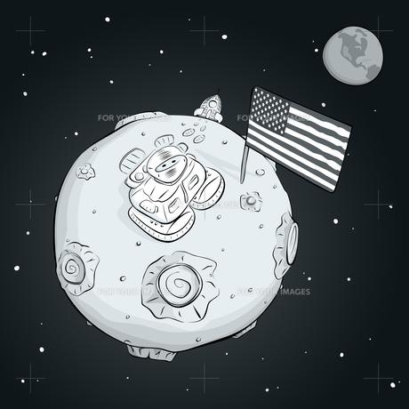 astronaut whith flag USA on the moon BWの素材 [FYI00784545]
