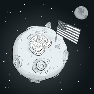 astronaut whith flag USA on the moon BWの写真素材 [FYI00784545]
