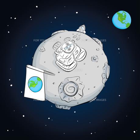 astronaut whith flag on the moonの写真素材 [FYI00784556]