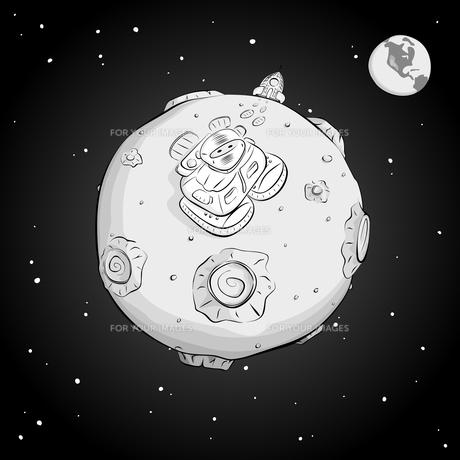 astronaut on the moon monochromeの写真素材 [FYI00784566]