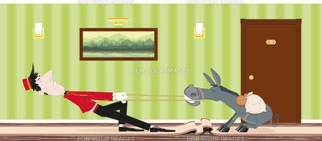 stubborn donkey and a porterの写真素材 [FYI00784569]