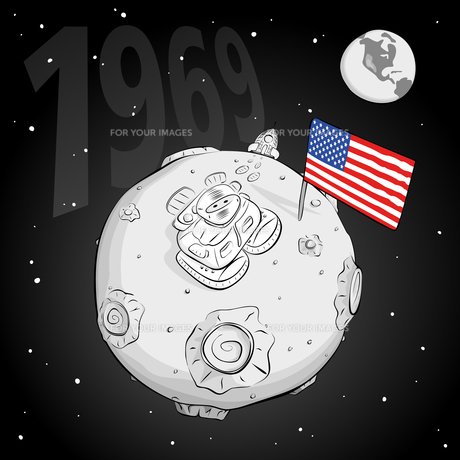 astronaut whith flag USA on the moon bwの写真素材 [FYI00784572]