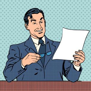 man reads document report businessman scientistの写真素材 [FYI00784651]