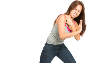 Fighting Woman Body Pushing Against Side Object Hの写真素材 [FYI00784664]