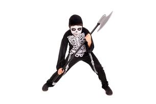 Boy in Halloween skeleton costumeの写真素材 [FYI00784703]