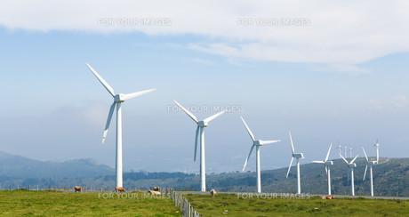 Wind turbines on a wind farm in Galicia, Spainの写真素材 [FYI00784746]