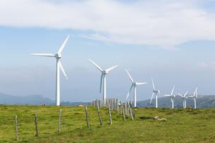 Wind turbines on a wind farm in Galicia, Spainの写真素材 [FYI00784772]
