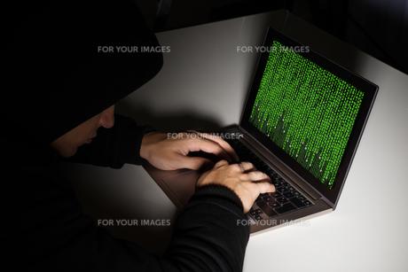 Hacker With Computers At Deskの写真素材 [FYI00784927]