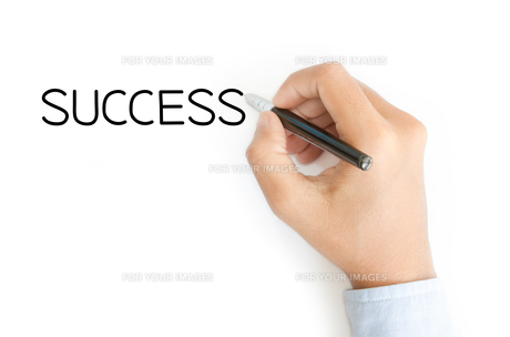 business hand writing success on white backgroundの写真素材 [FYI00785280]