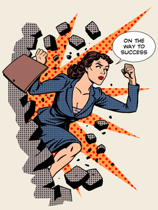 Business success businesswoman breaks the wallの写真素材 [FYI00785431]