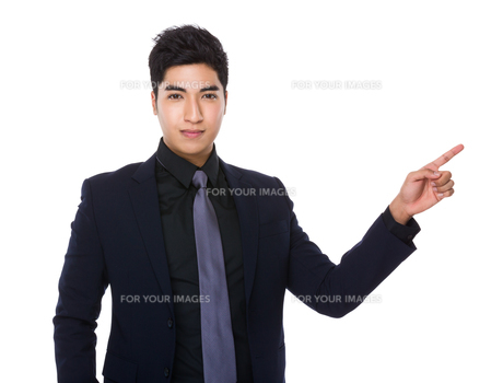Businessman with finger point upの素材 [FYI00785445]