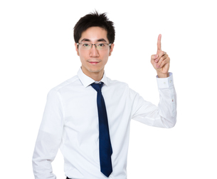 Asian businessman with finger point upの写真素材 [FYI00785698]