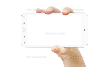 Hand with mobile phoneの写真素材 [FYI00786215]