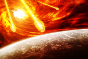 Red nebula in space with planet Earthの写真素材 [FYI00786264]