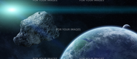 Asteroids threat over planet earthの写真素材 [FYI00786286]