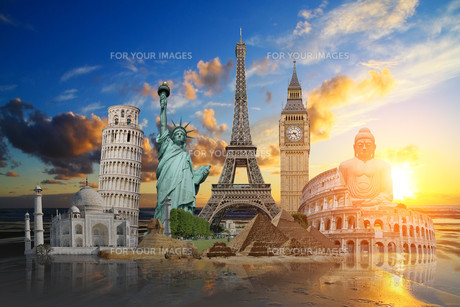 Famous monuments of the worldの写真素材 [FYI00786327]