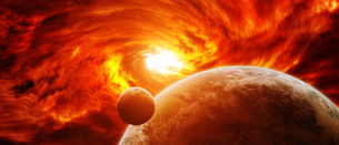 Red nebula in space with planet Earthの写真素材 [FYI00786344]