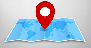 Pin map icon?on a blue mapの写真素材 [FYI00786371]