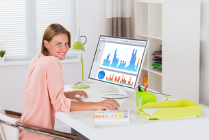 Woman Analyzing Graph On Computerの写真素材 [FYI00786446]