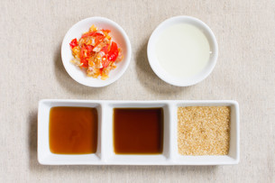 Seasoning or Ingredient of Thai Food. Granulated Sugar and Soy and Oysterの写真素材 [FYI00786634]