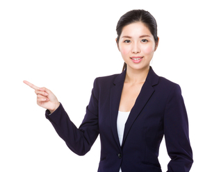 Young Businesswoman with finger point upの素材 [FYI00786784]