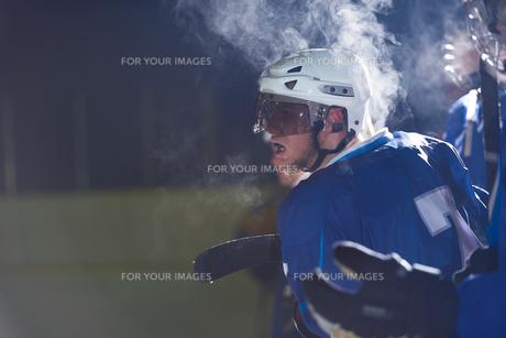 ice hockey players on benchの素材 [FYI00786952]