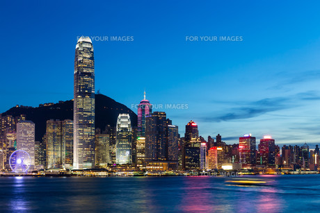 Hong Kong City at nightの写真素材 [FYI00787092]