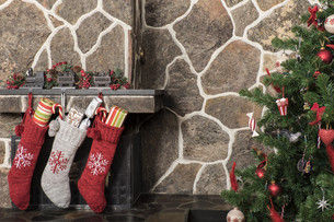 Christmas stockings and treeの写真素材 [FYI00787681]