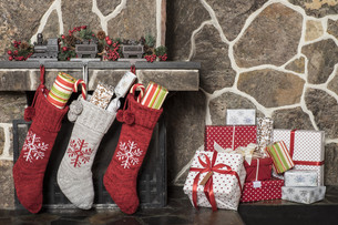 Christmas stockings. and presentsの写真素材 [FYI00787697]