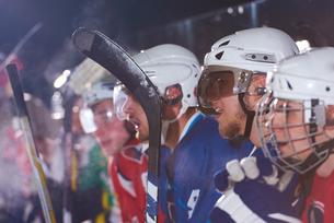 ice hockey players on benchの素材 [FYI00788193]