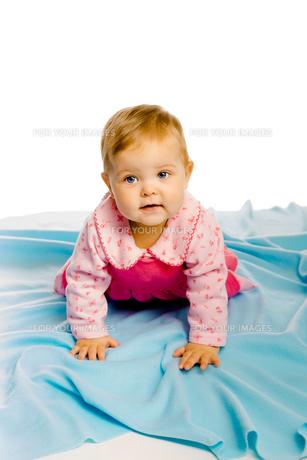 baby girl crawling on the blue coverlet. Studioの素材 [FYI00788578]