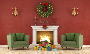 Retro christmas interior with fireplaceの写真素材 [FYI00788761]