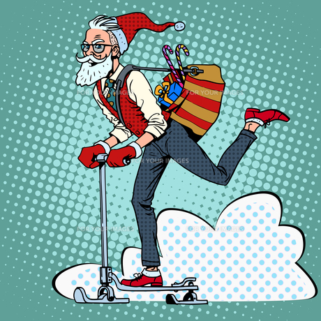 Hipster Santa Claus spreads the Christmas gifts on a scooter sleの写真素材 [FYI00789133]