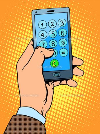 Hand smartphone phone numberの素材 [FYI00789151]